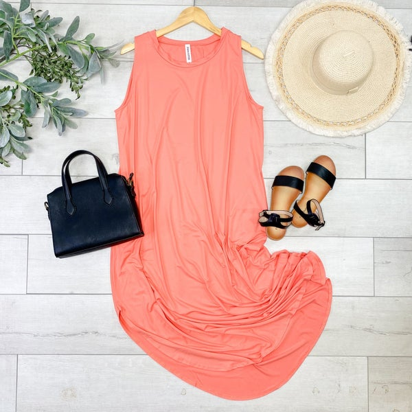 *PLUS* Solid Sleeveless Midi, Deep Coral