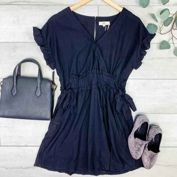 Ruffle Trim Dress, Black