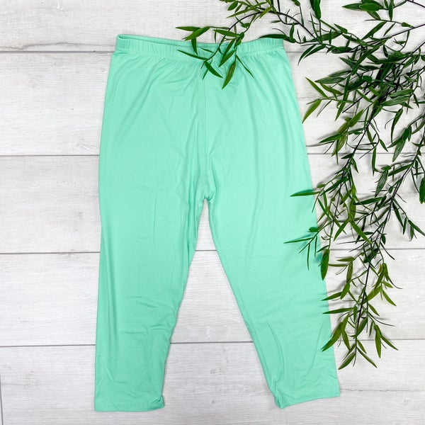 Capri Solid Leggings, Mint
