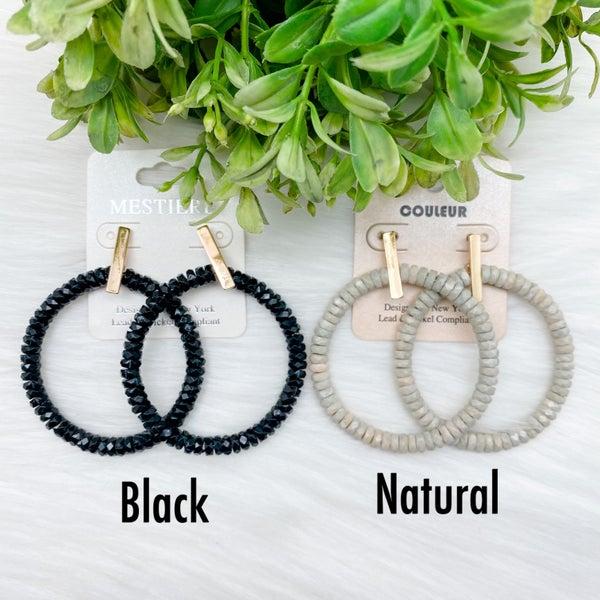 Beaded Round Hoop Earrings