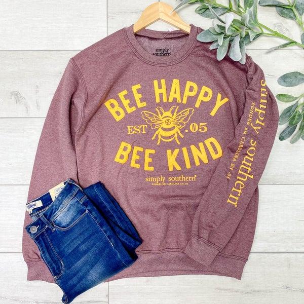 *SImply Southern* LS Bee Happy Sweatshirt, Maroon