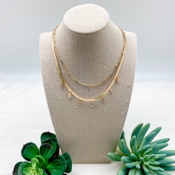 Snake Chain w/  Drop Crystals Layered Necklace, Gold