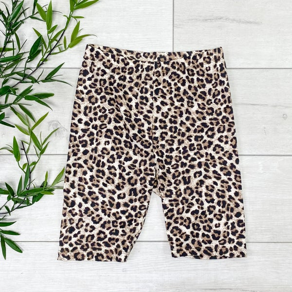Leopard Print Biker Shorts - BROWN