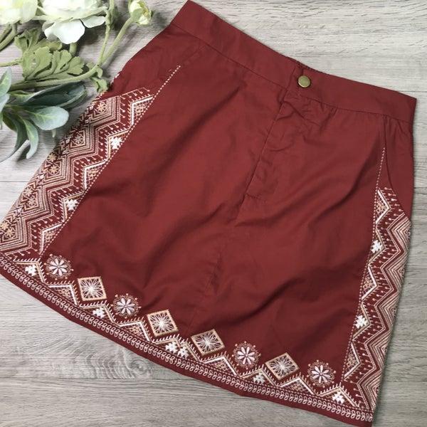 Embroidered Skirt, Cinnamon