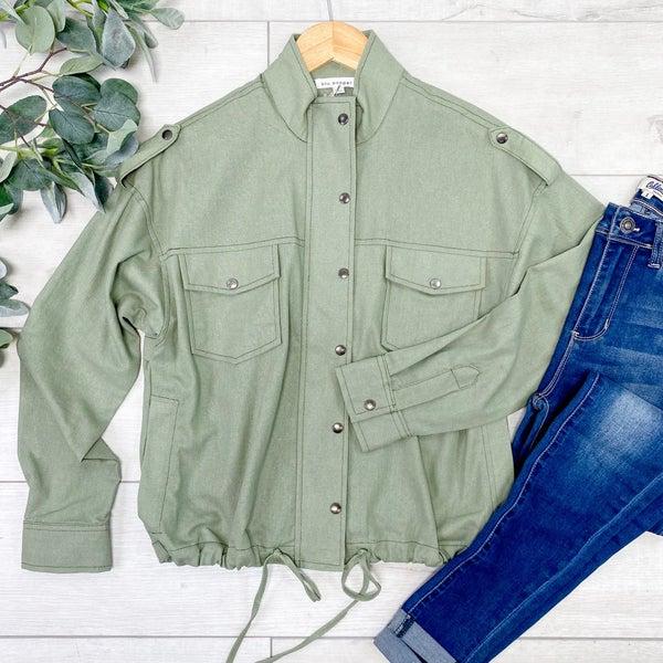 Lightweight Drawstring Waist Jacket, Light Olive