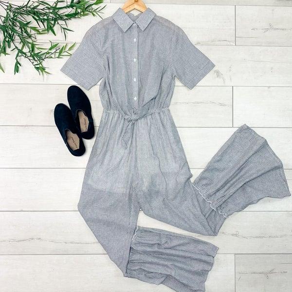 Ruffled Bottom Striped Jumpsuit, Gray *Final Sale*