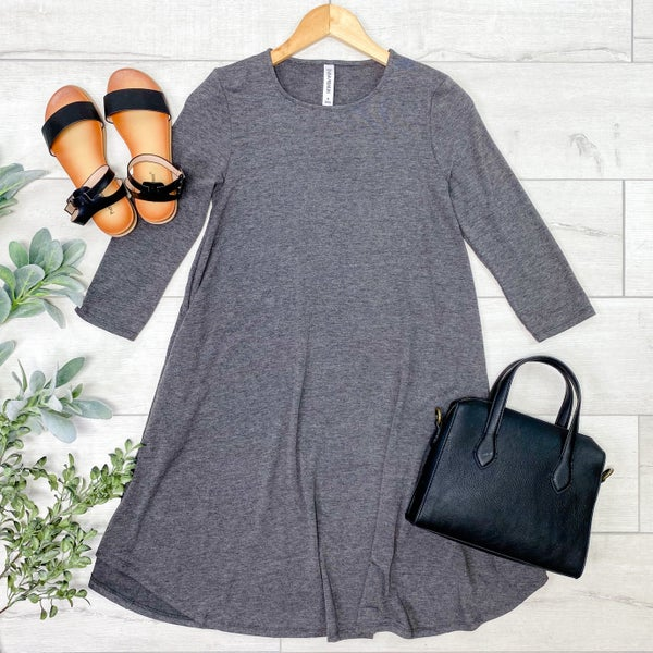 Solid Swing Dress w/Pockets, Charcoal [[LIVE]]