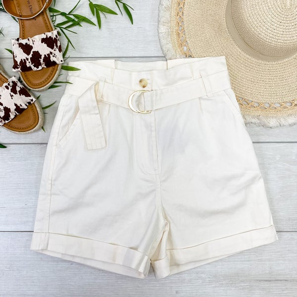Belted Paperbag Cuffed Shorts, Ivory