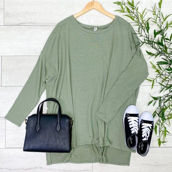 Long Sleeve Hi-Lo Tunic, Light Olive