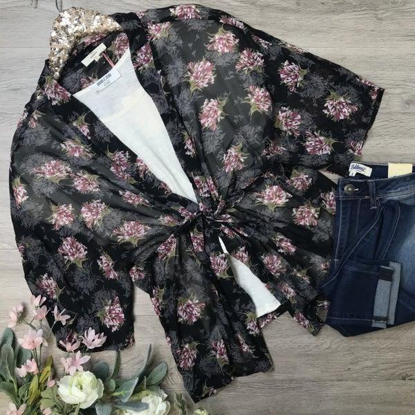 Sheer Floral Front Tie Kimono, Black