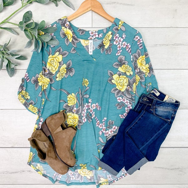 Floral V-Neck w/Cuffed Sleeves, Teal