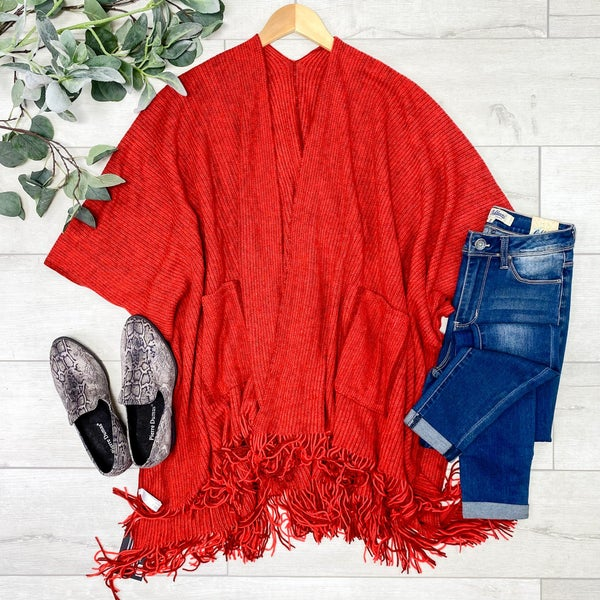 Rib Knit Fringe Kimono, Red