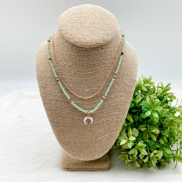 Short Layered Horn Necklace, Mint