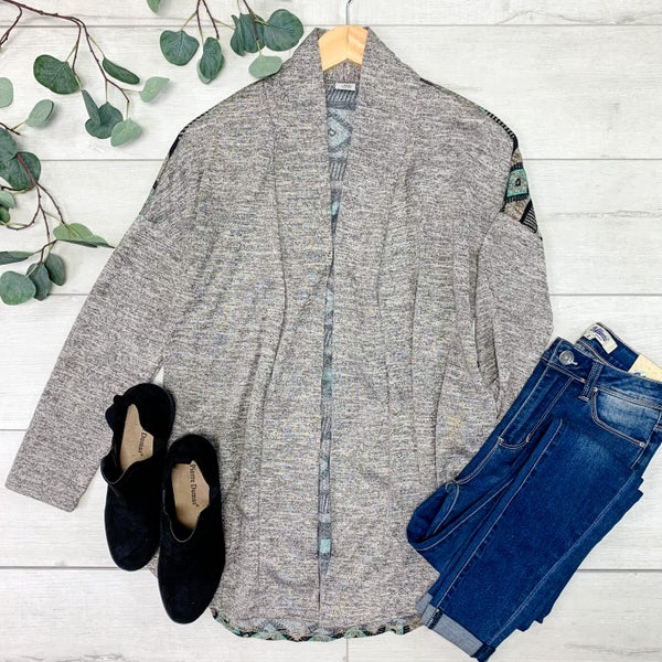 Patterned Back Cardigan,  Gray *Final Sale*