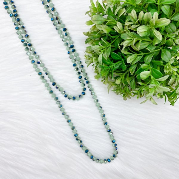 "Crystal Beaded 60"" Long Wrap Necklace, Mint Green *Final Sale*"