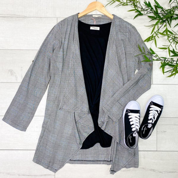 Plaid Lightweight Open Cardigan, Black