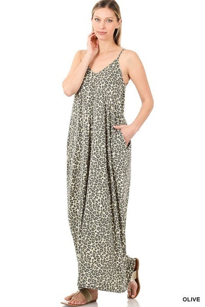 Leopard Print V-neck Maxi Dress - OLIVE