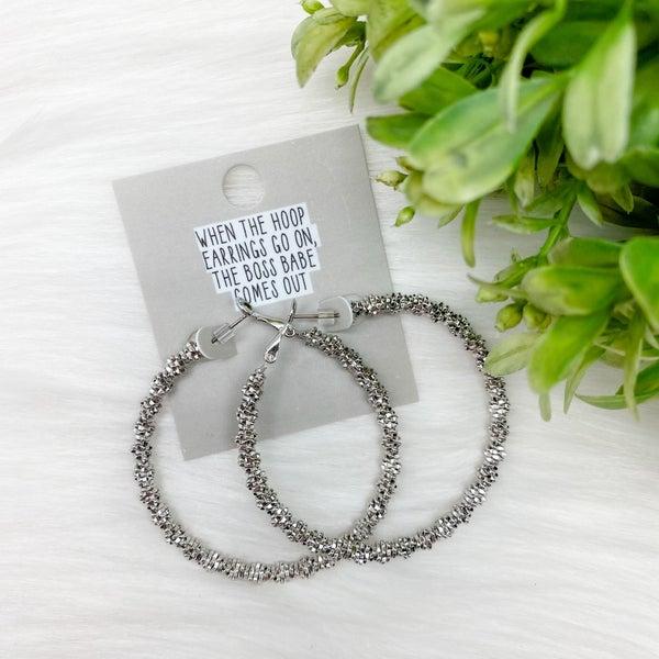 Beaded Hoop Earrings, Silver