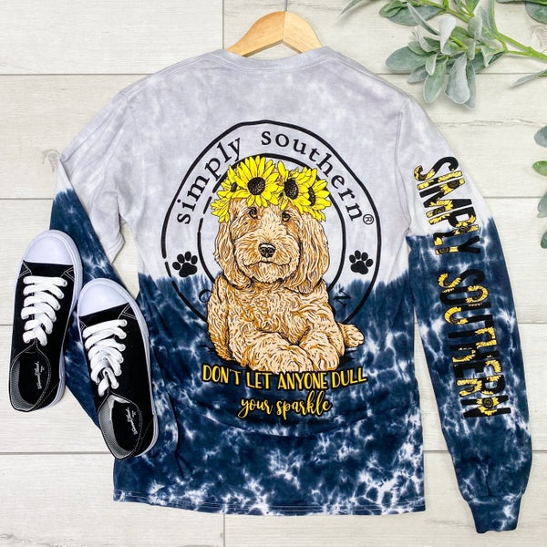*Simply Southern* LS Sunflower Dog Tee, Smokey
