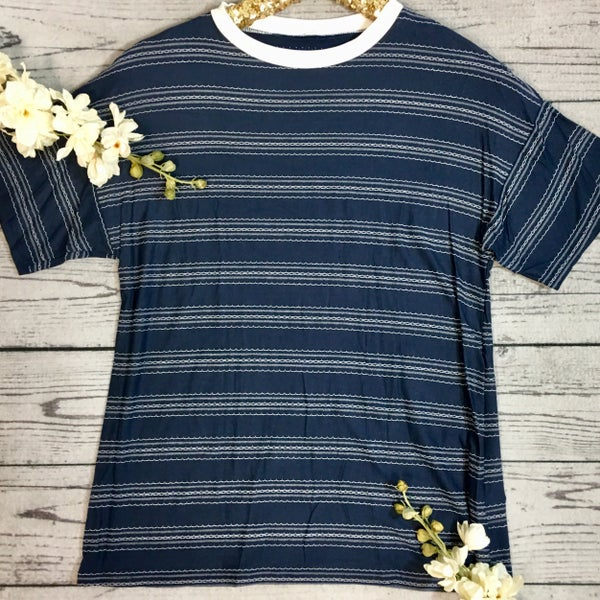 Stitched Stripe Detail Shirt-Navy (N) *LAST CALL - $5* [FINAL SALE]