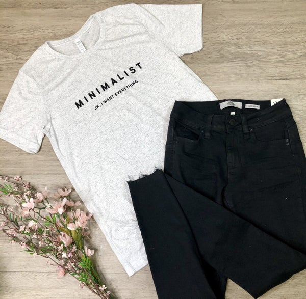 "*Kendra's Collection* ""Minimalist"" T-Shirt, Heather Gray"