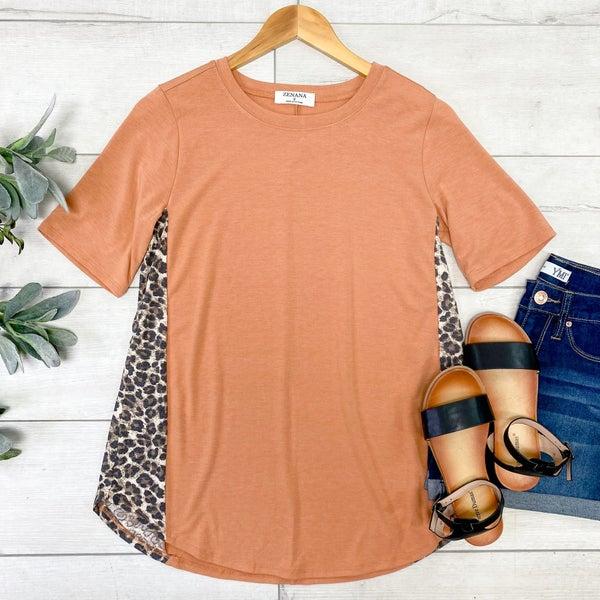 Leopard Contrast Side Top, Butter Orange
