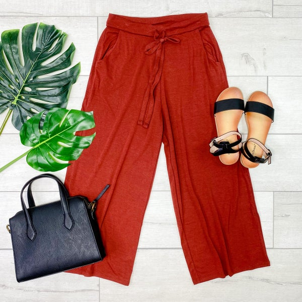 Cropped Palazzo Pants, Fired Brick [[LIVE]]