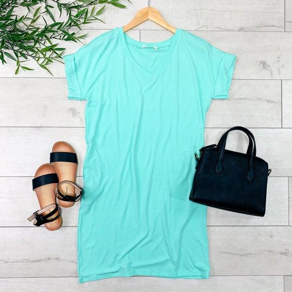 Solid V-Neck T-Shirt Dress, Mint