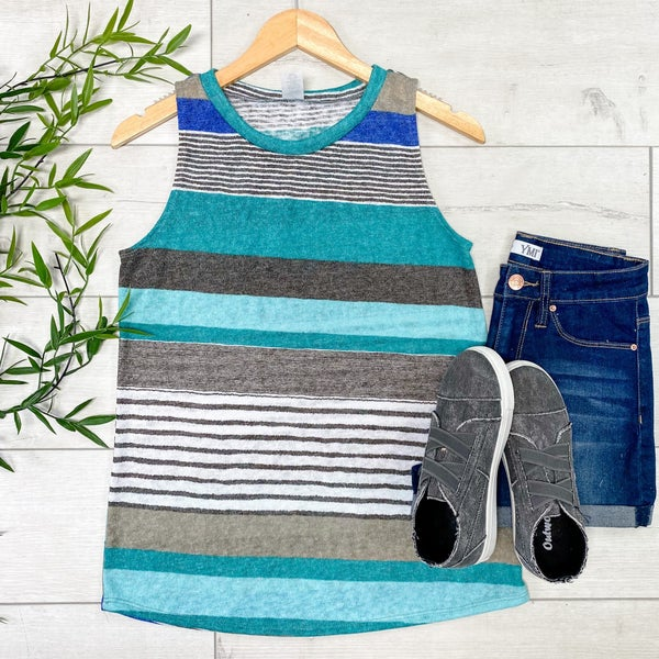 Stripped Knit Tank, Teal