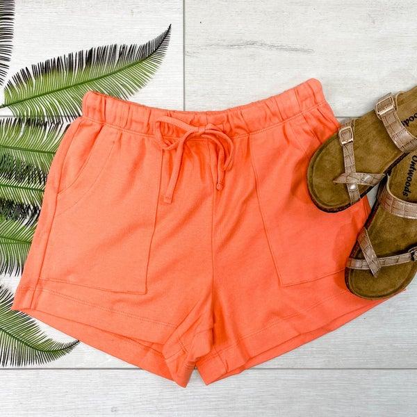Solid Drawstring Shorts, Deep Coral