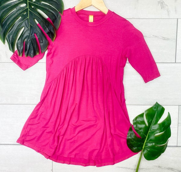 *Kid's Collection* Solid Babydoll Dress w/ Pockets, Hot Pink