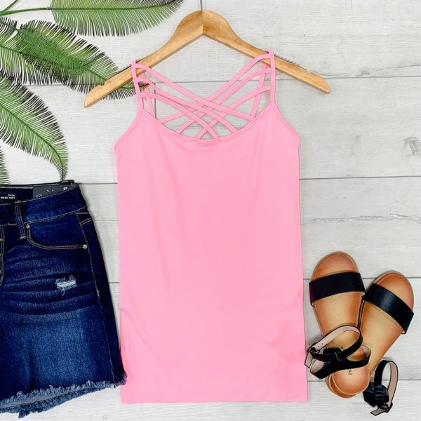 Criss Cross Neck Cami, Bright Pink