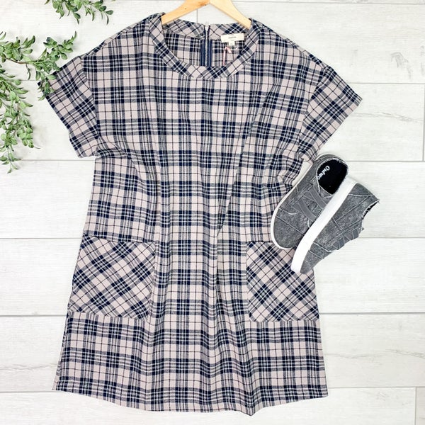*PLUS* Plaid Front Pocket Dress, Mocha