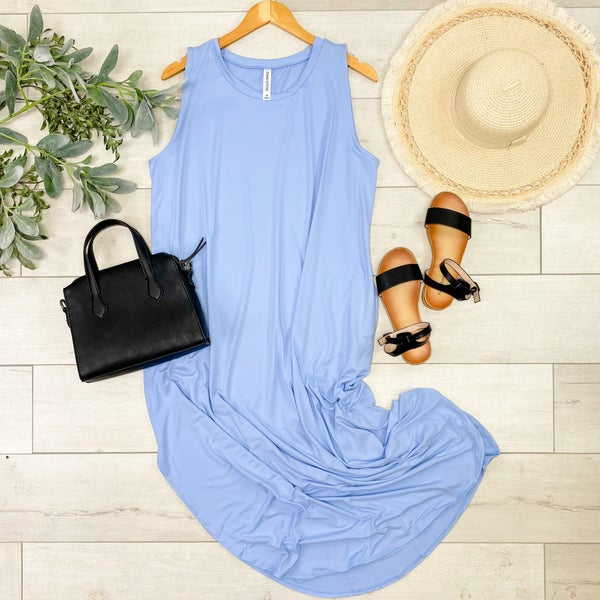 Solid Sleeveless Midi, Spring Blue