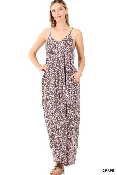 Leopard Print V-neck Maxi Dress - GRAPE