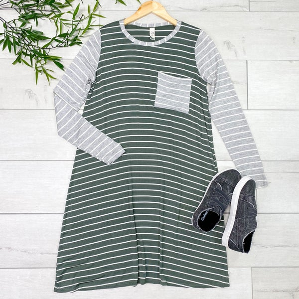 Contrast Striped Swing Dress, Olive