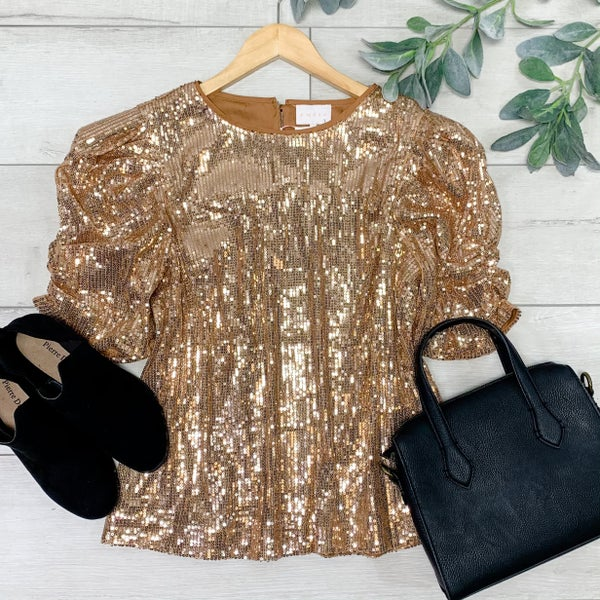 *Kendra's Collection* Sequin Puff Sleeve Top, Rose Gold *Final Sale*
