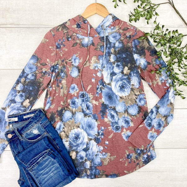 *Kendra's Collection* Floral Print Hoodie Top *Final Sale*