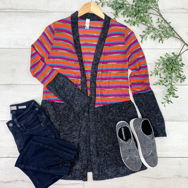 Striped Knit Cardigan, Charcoal *Final Sale*