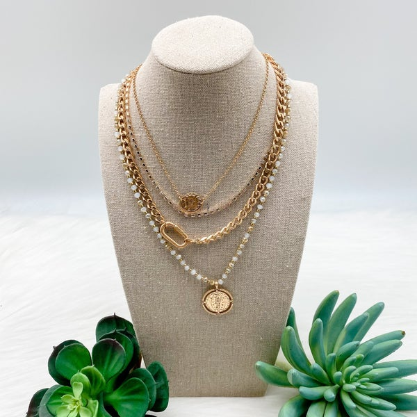 Layered Chain Coin Necklace, Gold