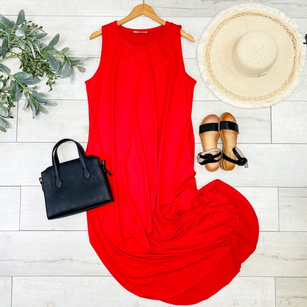 *PLUS* Solid Sleeveless Midi, Ruby