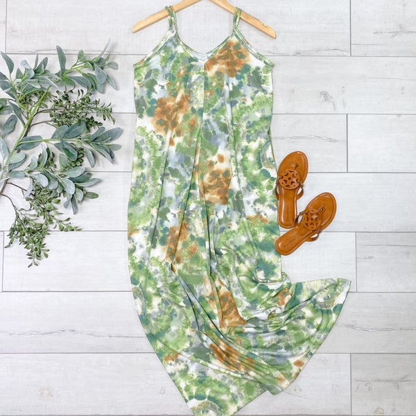 Tie Dye Maxi Dress, Green