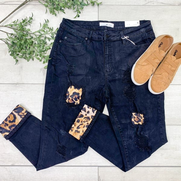 *Kendra's Collection* Mid Rise Distressed Denim w/ Leopard Patches - BLACK