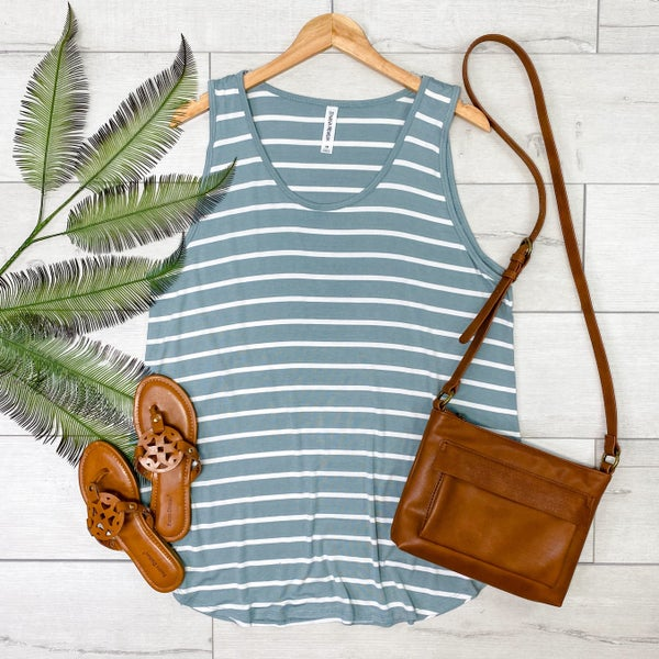 *PLUS* Striped Sleeveless Top, Light Green [[LIVE]]