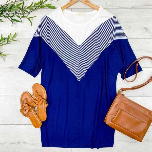 Contrast Solid and Striped Tunic Dress, Navy
