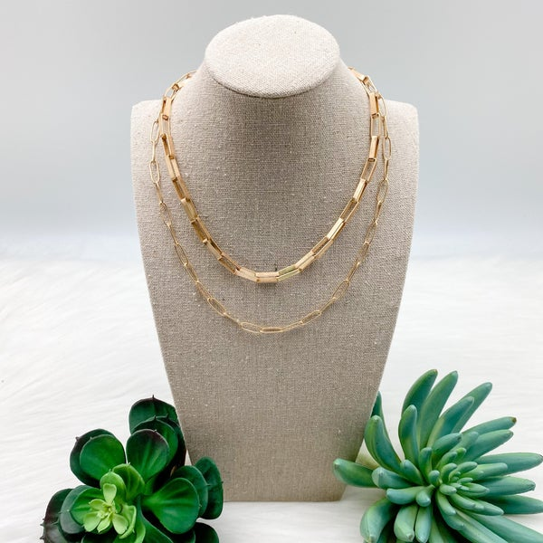 Short Layered Chain Necklace, Gold