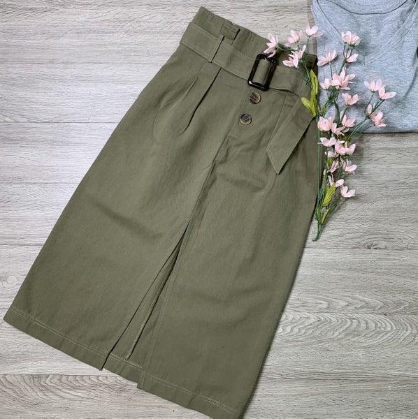 Midi Skirt W/Belt, Olive