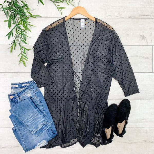Polka Dot Lightweight Cardigan, Black *Final Sale*