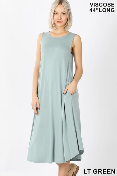 Sleeveless Midi Dress - LT GREEN