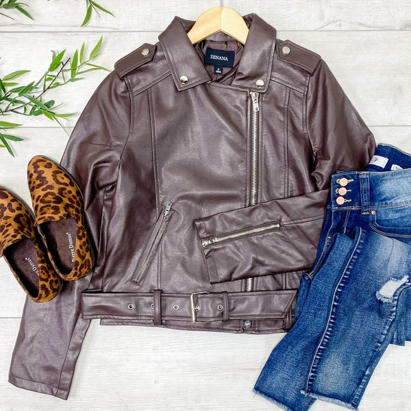 Vegan Leather Moto Jacket, Brown